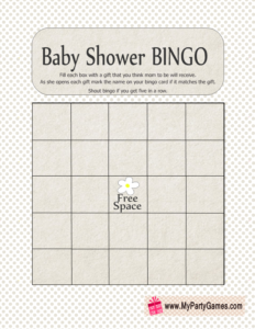 Free Printable Baby Shower Gift Bingo Card in White Color