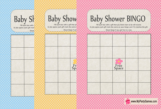 baby shower gift bingo game free printable