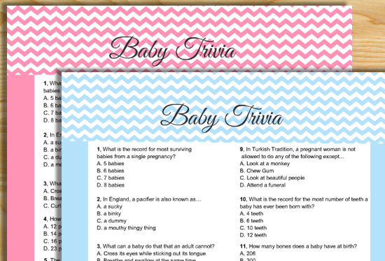Free Printable Baby Trivia Game for Baby Shower Party