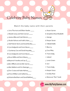 Free Printable Celebrity Baby Name Game in Pink Color