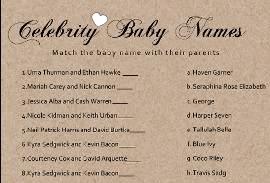 Free Celebrity Baby Shower Games - Baby Shower Ideas ...
