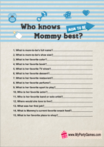 Who knows Mommy best? Free Printable Baby Shower Game in Blue Color