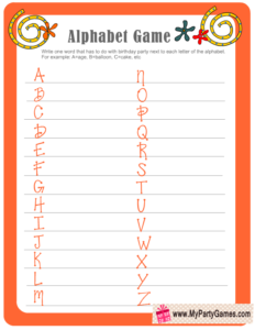 Birthday Alphabet Game in Orange Color - Free Printable
