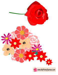 Red Rose and Bouquet, Valentine Photo Booth Prop