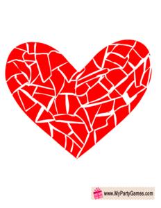 Broken Mosaic Heart Valentine Photo Booth Prop