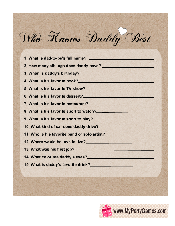 Who Knows Daddy Best Free Printable Baby Shower Game