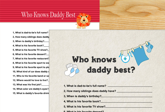 Who knows daddy best? - Free Printable Baby Shower Game