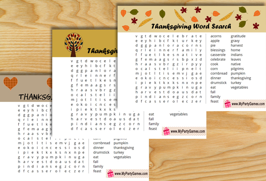 Free Printable Thanksgiving Word Search game