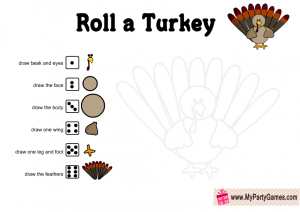 Free Printable Roll a Turkey Game for Thanksgiving