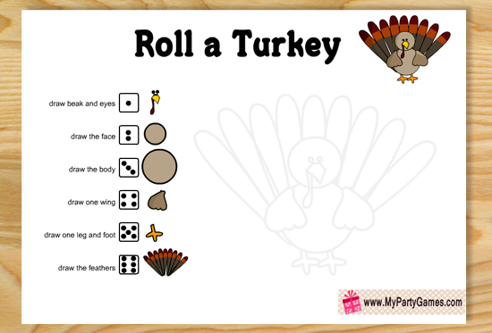 Free Printable Roll a Turkey Game