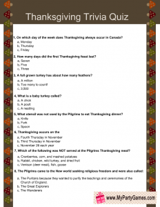 Free Printable Thanksgiving Trivia Quiz