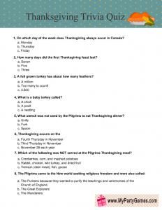 Thanksgiving Trivia Quiz Printable