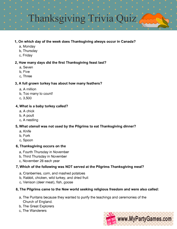photo about Printable Trivia Questions named Free of charge Printable Thanksgiving Trivia Quiz