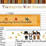 Free Printable Thanksgiving Word Scramble Game