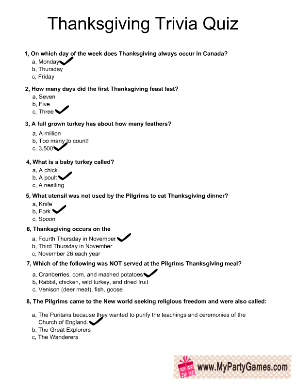 photograph relating to Thanksgiving Trivia Printable identified as Absolutely free Printable Thanksgiving Trivia Quiz