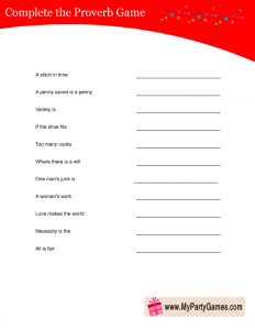 Free Printable Complete the Proverb Game Card in Red Color