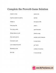 Free Printable Complete the Proverb Game Answer Key