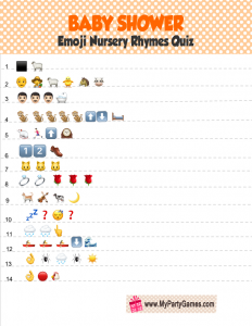 Free Printable Baby Shower Emoji Quiz in Orange Color
