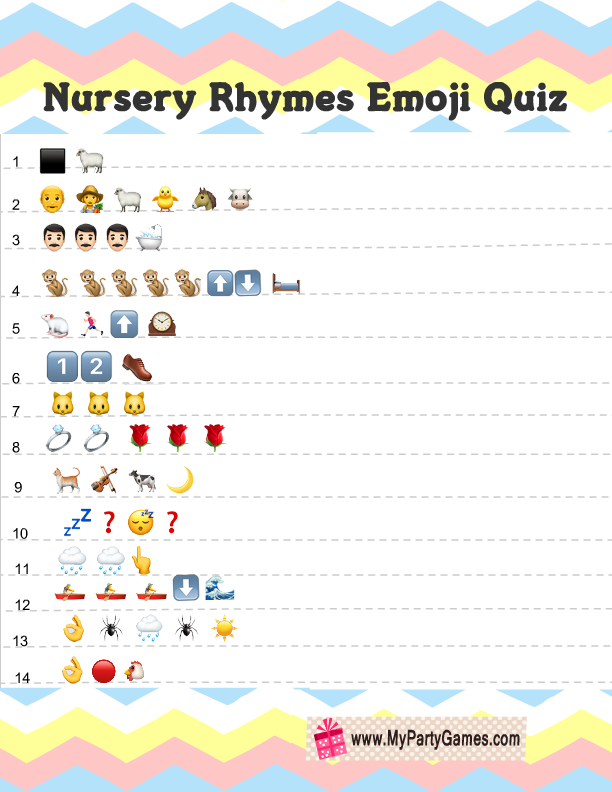 photograph about Printable Emoji Games identified as Absolutely free Printable Little one Shower Nursery Rhymes Emoji Quiz