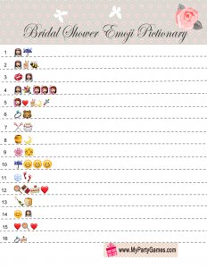 Free Printable Emoji Pictionary Game for Bridal Shower with Pink Rose