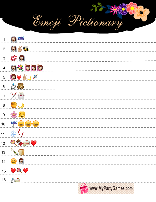 emoji pictionary bridal shower game
