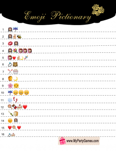 Free Printable Bridal Shower Emoji Pictionary Game in Black and Gold
