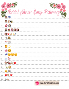 Bridal Shower Emoji Pictionary Game Printable