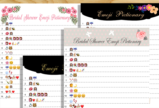 photo relating to Free Printable Bridal Shower Games Word Scramble called No cost Printable Bridal Shower Emoji Pictionary Video game