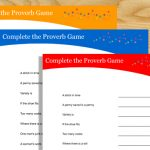 Free Printable Complete the Proverb Game with Answer Key