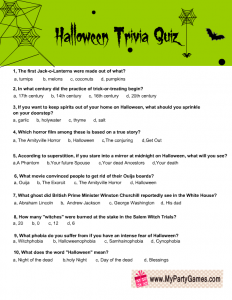 Trivia Game for Halloween