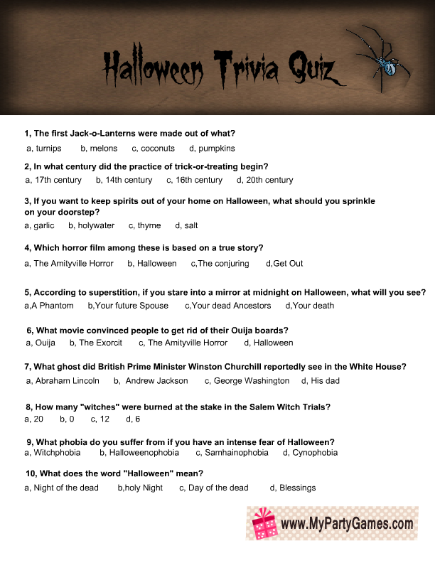 graphic relating to Printable Trivia Questions titled Cost-free Printable Halloween Trivia Quiz for Older people
