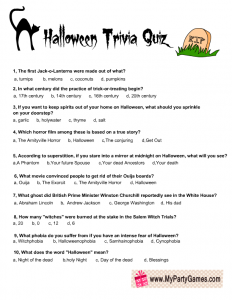 Halloween Trivia Game Printable