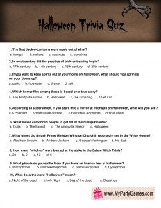 Halloween Trivia Quiz Printable