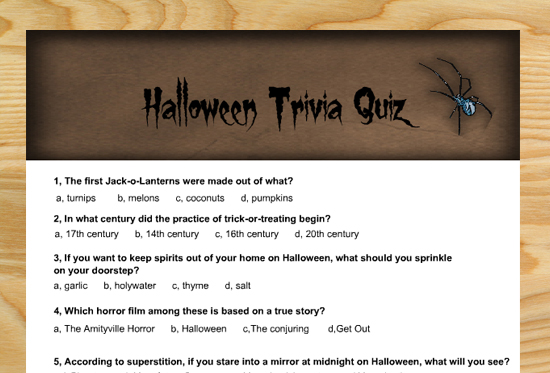 Free Printable Halloween Trivia Quiz for Adults