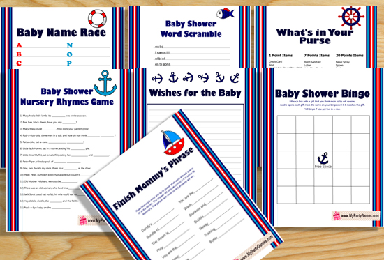 image relating to What's in Your Purse Free Printable referred to as Totally free Printable Nautical Boy or girl Shower Video games
