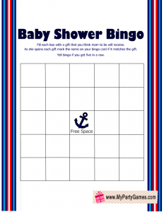 Free Printable Nautical Baby Shower Gift Bingo