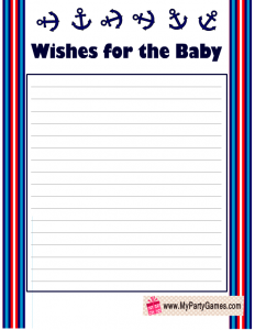 Free printable wishes for the baby, message in a bottle