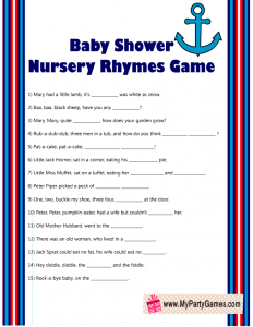Nautical Baby Shower Nursery Rhymes Game