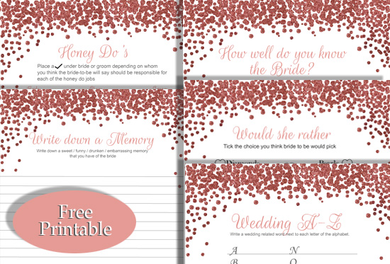 image regarding Would She Rather Bridal Shower Game Free Printable called 5 Prominent Bridal Shower Game titles with Rose Gold Confetti Design and style