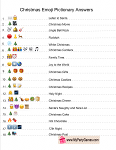 Christmas Emoji Pictionary Quiz Answer Key
