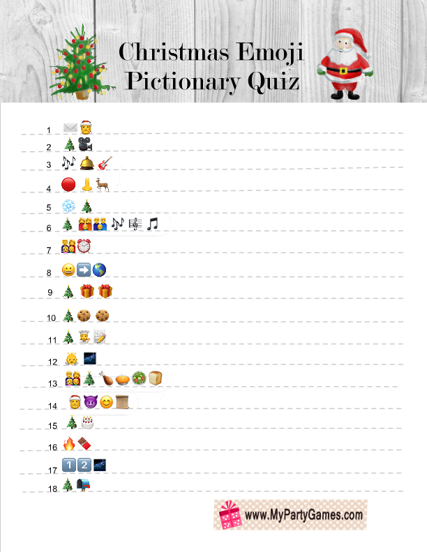 photo about Printable Christmas Games With Answers known as Cost-free Printable Xmas Emoji Pictionary Quiz