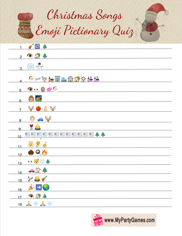 picture regarding Guess the Christmas Song Printable named Totally free Printable Xmas Music Emoji Pictionary Quiz
