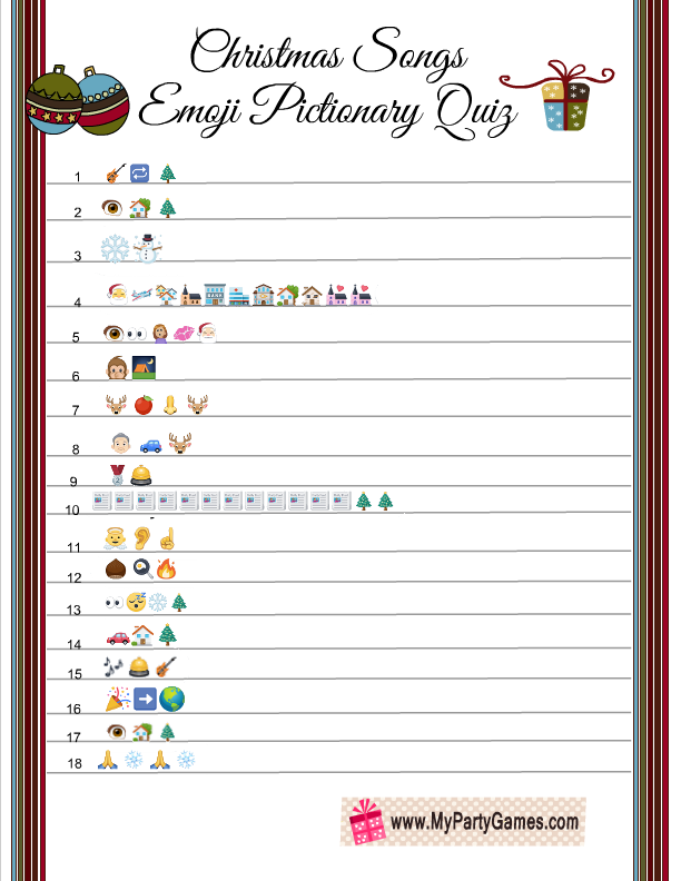 picture about Guess the Christmas Song Printable titled Cost-free Printable Xmas New music Emoji Pictionary Quiz