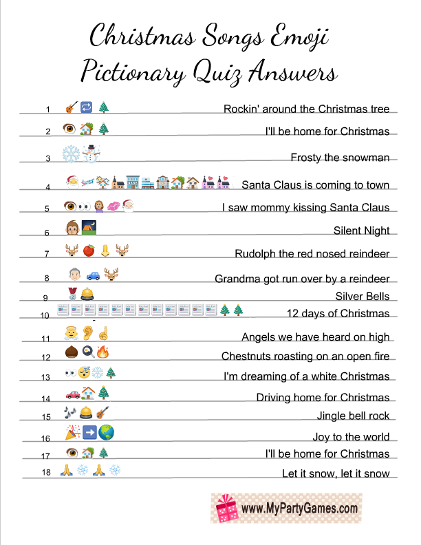 photograph about Christmas Song Scramble Free Printable named Cost-free Printable Xmas Tunes Emoji Pictionary Quiz