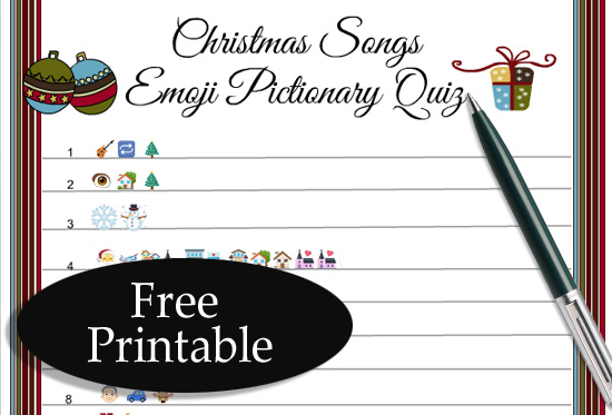picture regarding Guess the Christmas Song Printable referred to as Absolutely free Printable Xmas Audio Emoji Pictionary Quiz
