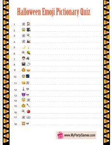 Free Printable Halloween Emoji Pictionary Quiz
