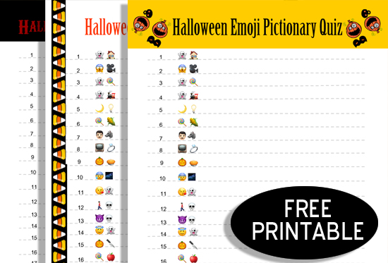 Free Printable Halloween Emoji Pictionary Game with Answer Key