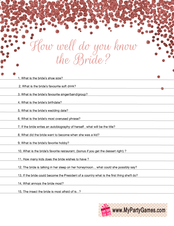 photograph about Free Printable Bridal Shower Games How Well Do You Know the Bride referred to as 5 Notable Bridal Shower Game titles with Rose Gold Confetti Structure