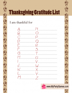 Free Printable Thanksgiving Gratitude List Cards