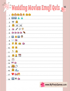 Free Printable Wedding Movies Emoji Pictionary Quiz Game